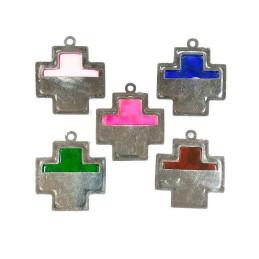 Obiecte bisericesti | Medalion cruce de plastic argintiu 43mm | 2072