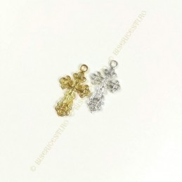 Obiecte bisericesti | Medalion cruce metalica aurie sau argintie 28mm | 2075
