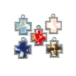 Obiecte bisericesti | Medalion cruce de plastic argintiu 30mm | 2077