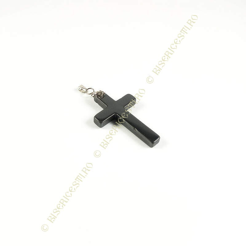 Obiecte bisericesti | Medalion cruce de piatra tip hematit 40mm | 2080