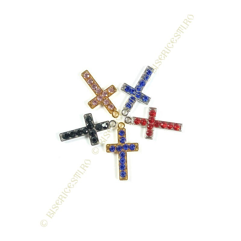 Obiecte bisericesti | Medalion cruce metalica aurie sau argintie 25mm | 2082