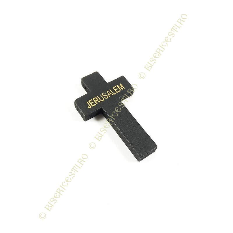 Obiecte bisericesti   Medalion cruce de lemn lacuit 42mm   2086
