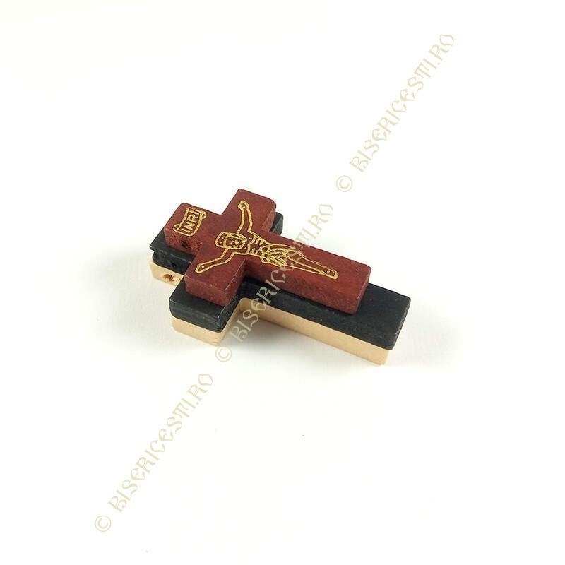 Obiecte bisericesti   Medalion cruce de lemn lacuit 32mm   2087