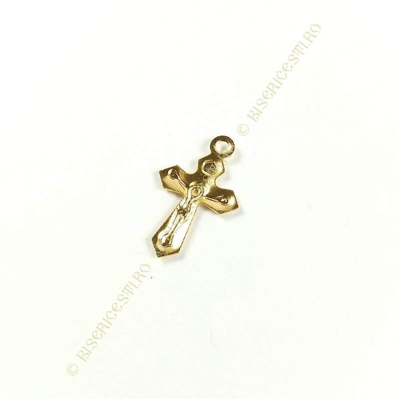 Obiecte bisericesti | Medalion cruce metalica aurie 21mm | 2090