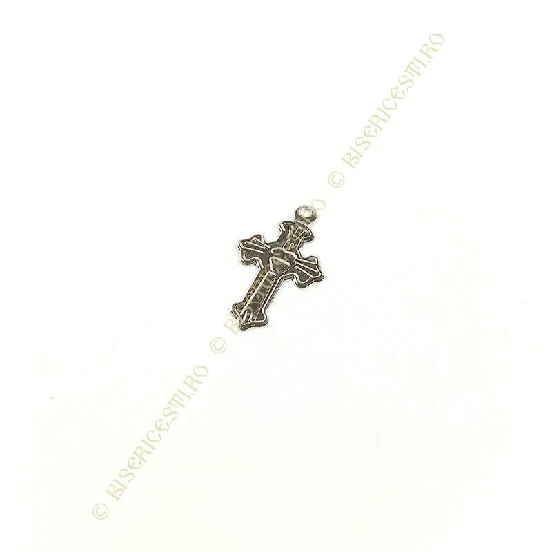 Obiecte bisericesti   Medalion cruce metalica argintie 20mm   2091