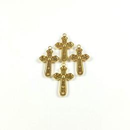 Obiecte bisericesti | Medalion cruce metalica aurie 30mm | 2095
