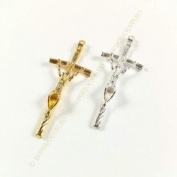 Obiecte bisericesti | Medalion cruce metalica aurie sau argintie 45mm | 2096
