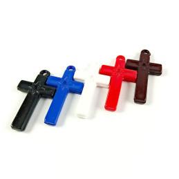 Obiecte bisericesti | Medalion cruce de plastic colorat 35mm | 2098
