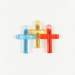 Obiecte bisericesti | Medalion cruce de plastic colorat 30mm | 2099