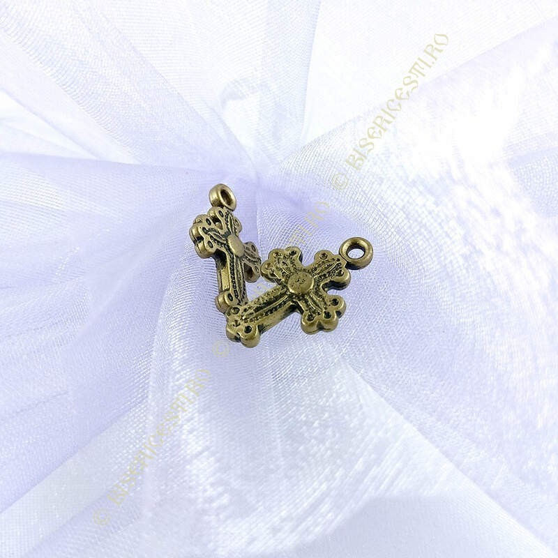 Obiecte bisericesti | Medalion cruce de plastic colorat 20mm | 2101