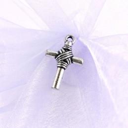 Obiecte bisericesti | Medalion cruce metalica argintie 28mm | 2102