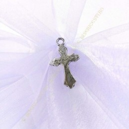 Obiecte bisericesti | Medalion cruce metalica argintie 30mm | 2103