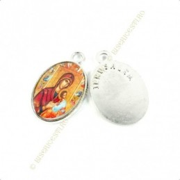 Obiecte bisericesti | Medalion icoana metalica argintie 20mm | 2105