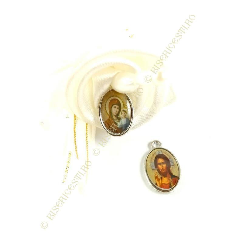 Obiecte bisericesti | Medalion icoana metalica argintie 10mm | 2107