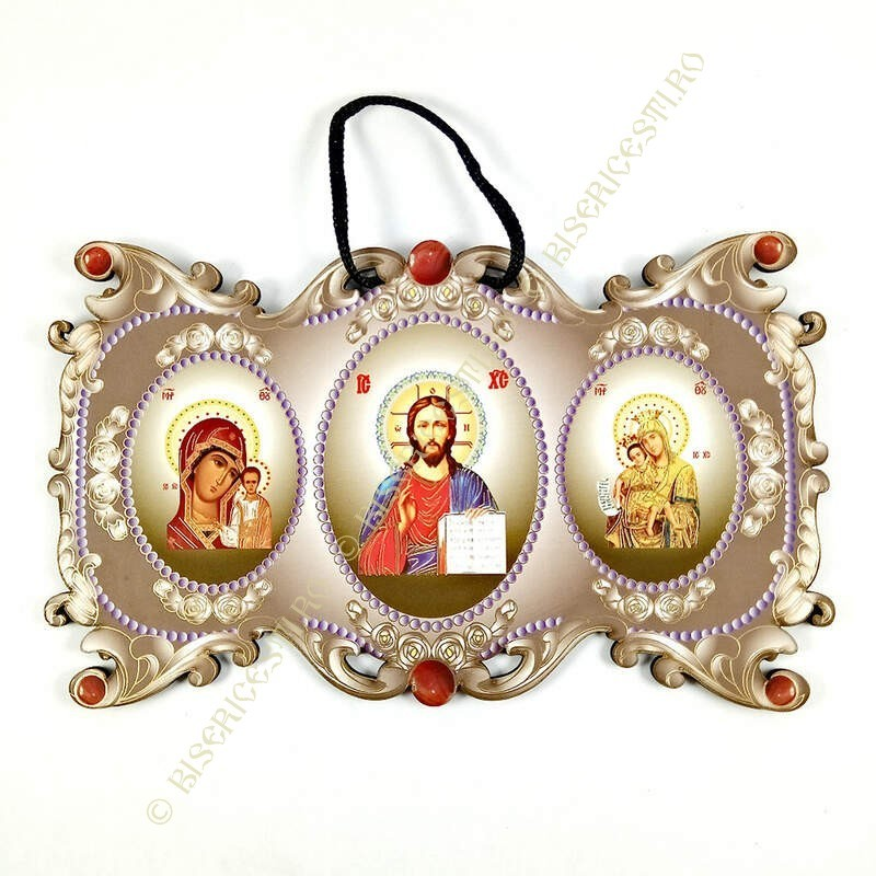 Obiecte bisericesti   Icoana Maicii Domnului   cu trei litografii   4075