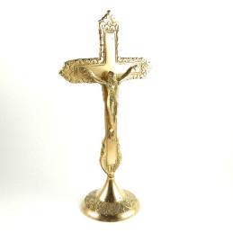 Obiecte bisericesti | Cruce pentru masa din metal auriu | 5317