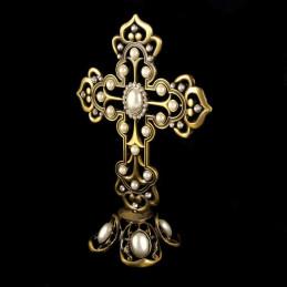 Obiecte bisericesti | Cruce pentru masa din metal argintiu | 5335