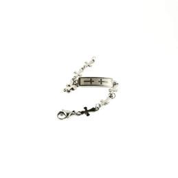 Obiecte bisericesti | Bratara lant metalic cruciulite de inox | 1011
