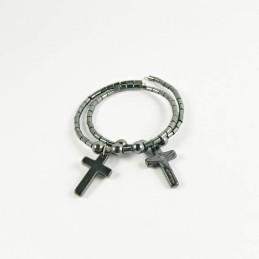Obiecte bisericesti | Bratara spirala metalica piatra tip hematit | 1020