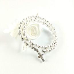 Obiecte bisericesti | Bratara spirala metalica perle de plastic | 1026
