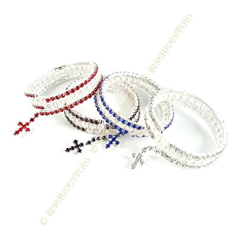 Obiecte bisericesti | Bratara spirala metalica strasuri | 1027