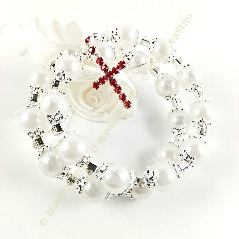 Obiecte bisericesti | Bratara spirala metalica perle de plastic | 1031