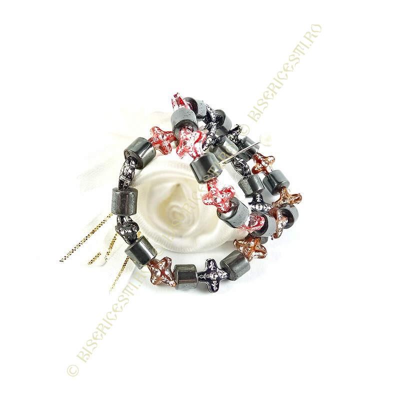 Obiecte bisericesti | Bratara elastica elemente tip hematit | 1091