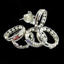 Obiecte bisericesti | Bratara spirala metalica perle de plastic si strasuri | 1153