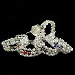 Obiecte bisericesti | Bratara spirala metalica perle de plastic si strasuri | 1154