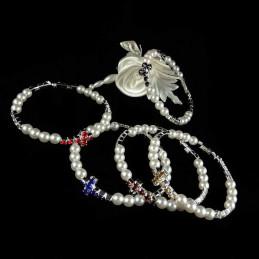 Obiecte bisericesti | Bratara rigida metalica perle de plastic si strasuri | 1155