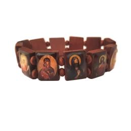 Obiecte bisericesti | Bratara elastica placute si bile de lemn | 1183