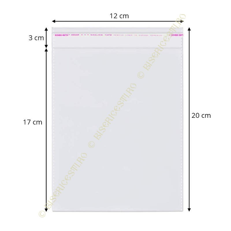 Ambalaje | Pungi cu clapeta adeziva 12cmx20cm set 1000 buc | 3703