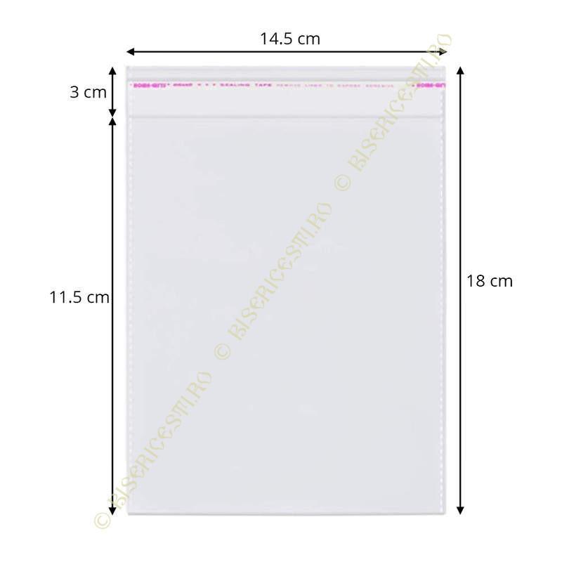 Ambalaje | Pungi cu clapeta adeziva 14.5cmx18cm set 1000 buc | 3705