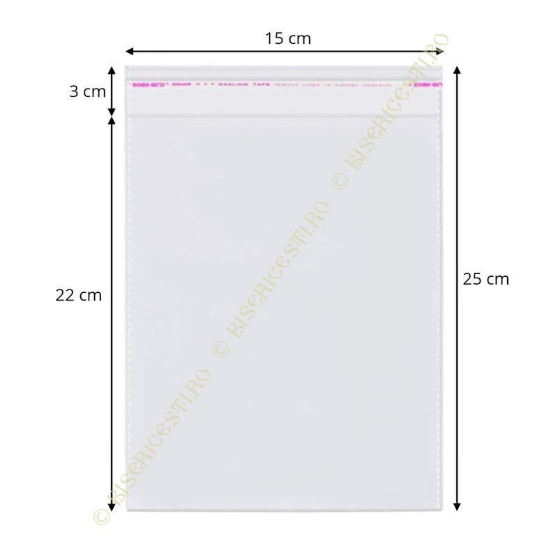 Ambalaje | Pungi cu clapeta adeziva 15cmx25cm set 1000 buc | 3706