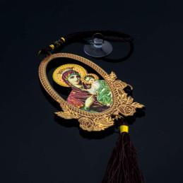 Obiecte bisericesti Medalion auto oval din lemn pirogravat Ventani 2509