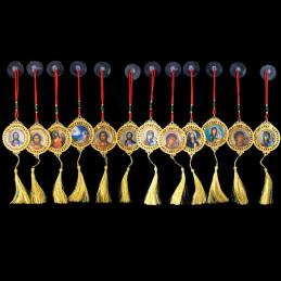 Obiecte bisericesti Medalion auto rotund  din metal cu strasuri Ventani 2538