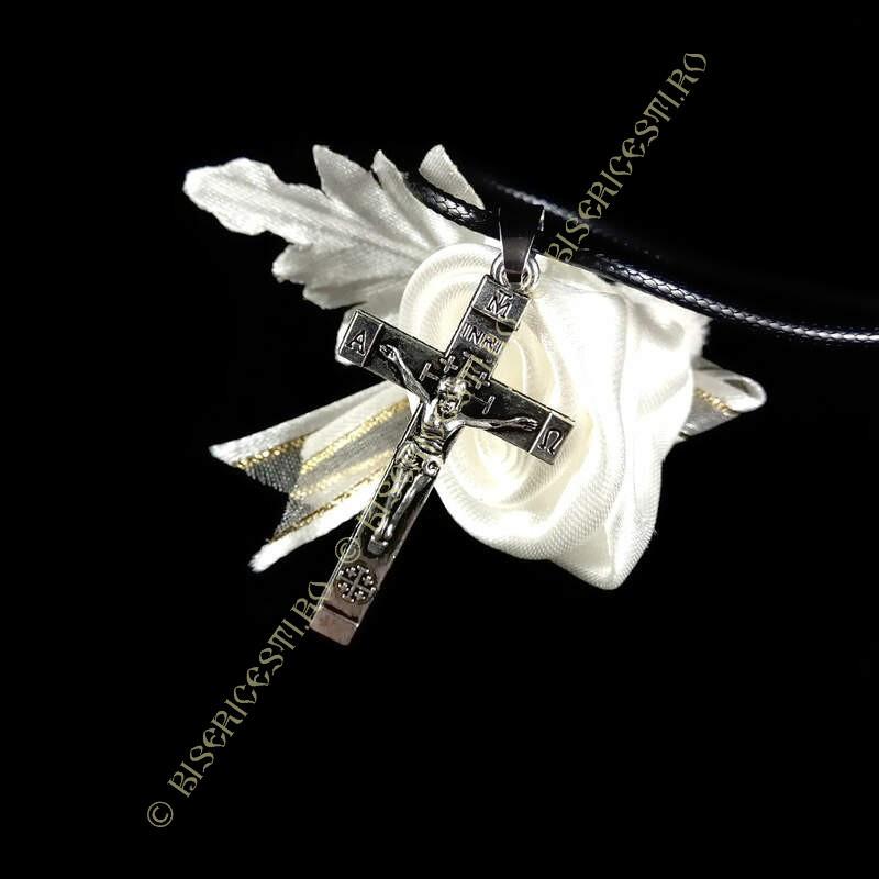 Obiecte bisericesti | Colier cruce metalica sculptata | 1802