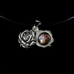 Obiecte bisericesti | Colier medalion metalic trandafir cu Icoana Maicii Domnului | 1819