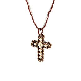 Obiecte bisericesti | Colier cruce din bile de plastic | 1826
