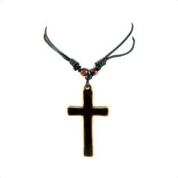 Obiecte bisericesti | Colier cruce sculptata din plastic maro | 1829
