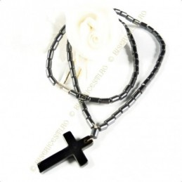 Obiecte bisericesti | Colier cruce din piatra tip hematit | 1830