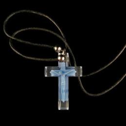 Obiecte bisericesti | Colier cruce din plastic transparent | 1832