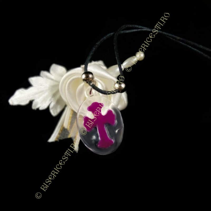 Obiecte bisericesti | Colier medalion oval din plastic transparent  | 1833