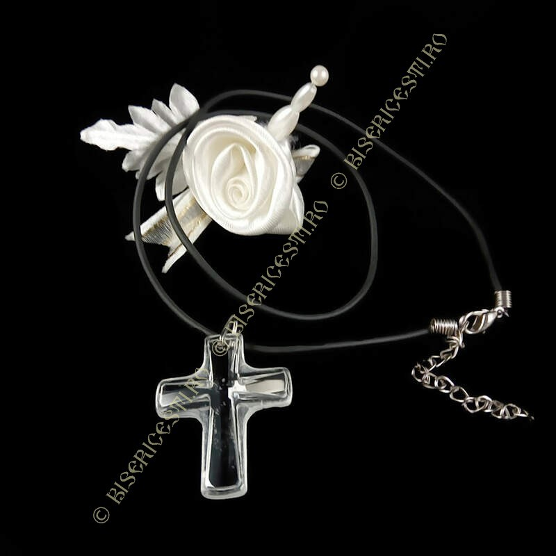 Obiecte bisericesti | Colier cruce din plastic transparent | 1834