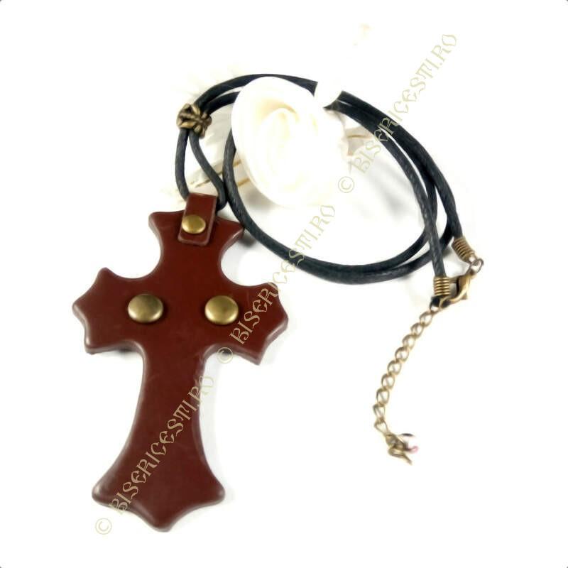 Obiecte bisericesti | Colier cruce din piele | 1837