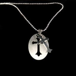 Obiecte bisericesti | Colier medalion oval din inox | 1846
