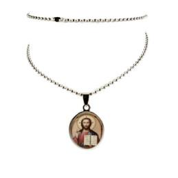 Obiecte bisericesti | Colier medalion oval din inox | 1854