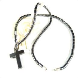 Obiecte bisericesti | Colier cruce din piatra tip hematit | 1870