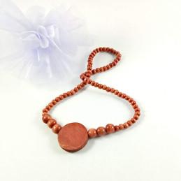 Obiecte bisericesti | Colier medalion rotund din lemn | 1876